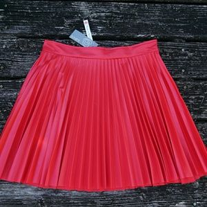 Red Accordion Skater Skirt